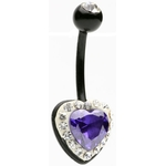 Purple Crystal Heart Biopierce Belly Ring image