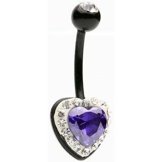 Purple Crystal Heart Biopierce Belly Ring