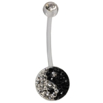 Yin Yang Belly Button Ring - Black & White Biopierce image