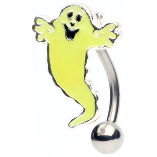 Glowing Ghost Top Down Hinged Belly Ring