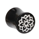 00 Gauge White Lotus Inlay Horn Plug image