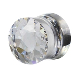 0 Gauge Clear Cubic Zirconia Saddle Plug image
