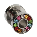 4 Gauge Rainbow Gem Screw Fit Tunnel image