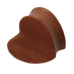 0 Gauge Heart Shaped Cherry Wood Plug image