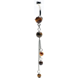 Tiger Eye Tri-Stone Dangling Belly Ring