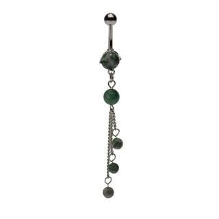 Amazonite Tri-Stone Dangling Belly Ring