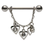 Dangling Hearts Trio Nipple Ring image
