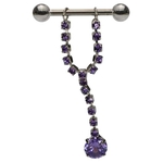 Purple CZ Solitaire Dangling Nipple Ring image