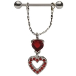 Dangling Red Hot Hearts Nipple Ring image