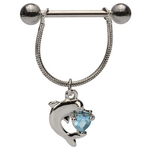 Dangling Dolphin w/Aqua Heart Nipple Ring image