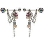 Pair of Flower Gem & Pearl Dangle Nipple Rings image