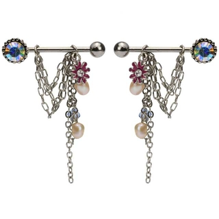 Pair of Flower Gem & Pearl Dangle Nipple Rings