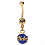Gold Plated UCLA Bruins Dangling Belly Ring image