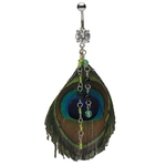 Dangling Jewels Peacock Feather Belly Ring image
