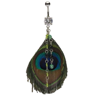 Dangling Jewels Peacock Feather Belly Ring