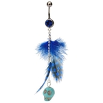 Blue Jeweled Dangling Skull Feather Belly Ring image