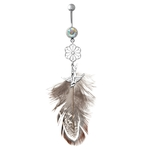 Silver Flower & Bird Dangling Feather Belly Ring image