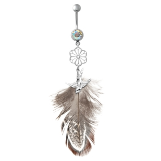 Silver Flower & Bird Dangling Feather Belly Ring