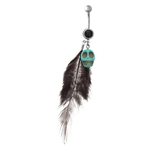 Turquoise Skull Black Gem Feather Belly Ring image