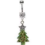 Gemmed Christmas Tree Dangling Belly Ring image