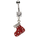 Jeweled Christmas Shoe Dangling Belly Ring image