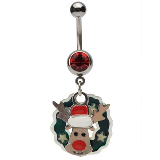 Reindeer & Wreath Dangling Belly Ring