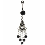 Black Gemmed Chandelier Belly Ring image