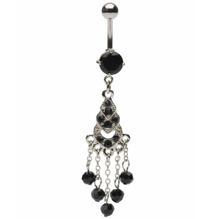 Black Gemmed Chandelier Belly Ring