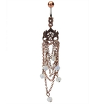 Copper Chandelier w/Opal Beads Belly Ring image