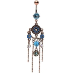 Aqua Gems Chandelier Belly Ring w/Figaro Chain image