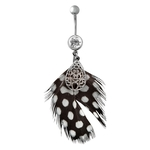 Teardrop Black & White Polka Dot Feather Belly Ring image