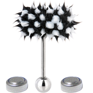 Black & White Koosh Ball Thrasher Vibrating Tongue Ring