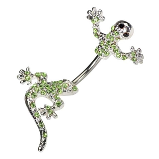 Split Lizard Belly Button Ring with Crystals