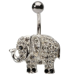 Crystal Elephant Belly Button Ring image