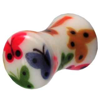 4 Gauge UV Double Flared Butterfly Ear Plug