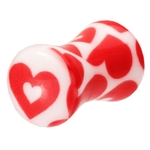 4 Gauge Double Flared Pink Heart Ear Plug image