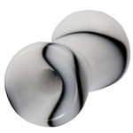 4 Gauge Black & White Marble UV Ear Tunnel image