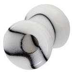 2 Gauge Black & White Marble UV Hollow Ear Tunnel image