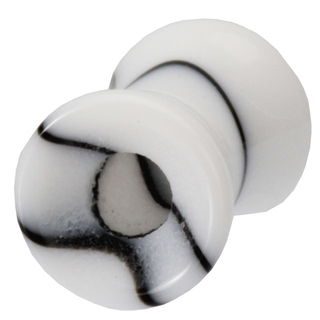 2 Gauge Black & White Marble UV Hollow Ear Tunnel