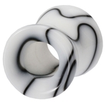0 Gauge Black & White Marble UV Hollow Ear Tunnel image
