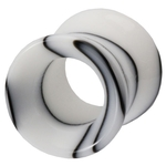 00 Gauge Black & White Marble UV Hollow Ear Tunnel image