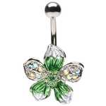 Green Crystals Tropical Hawaiian Flower Belly Button Ring image