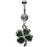 Dangling Green Irish Shamrock Belly Ring image