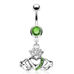 Irish Claddagh Dangling Belly Ring w/Green Crystals image