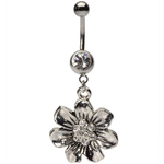 Vintage Casted Sunflower Dangling Belly Ring w/Crystals image
