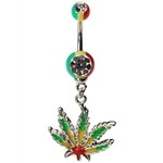 Dangling Rasta Marijuana Belly Ring image