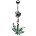 Dangling Marijuana Belly Ring with Crystal Gem image