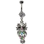 Owl Belly Button Ring - Marquise Gems image