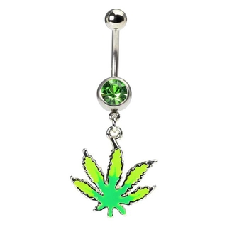 Glow in the Dark Marijuana Navel Ring
