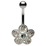 Sterling Silver Belly Ring Flower w/Aqua Gem Center image